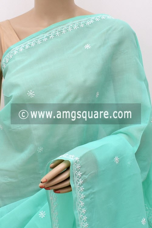 Sea Green Hand Embroidered Lucknowi Chikankari Saree (With Blouse - Cotton) Rich Pallu 15013