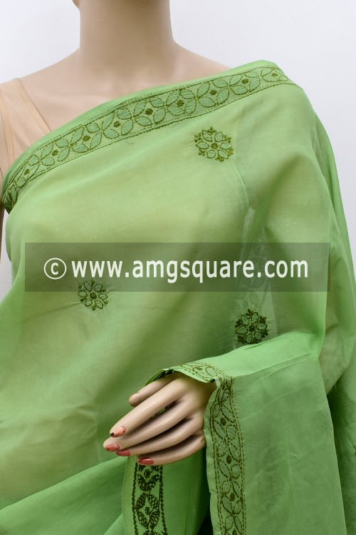 Dark Pista Green White Designer Hand Embroidered Lucknowi Chikankari Saree (With Blouse - Cotton) Daraj Work at Pallu 15015