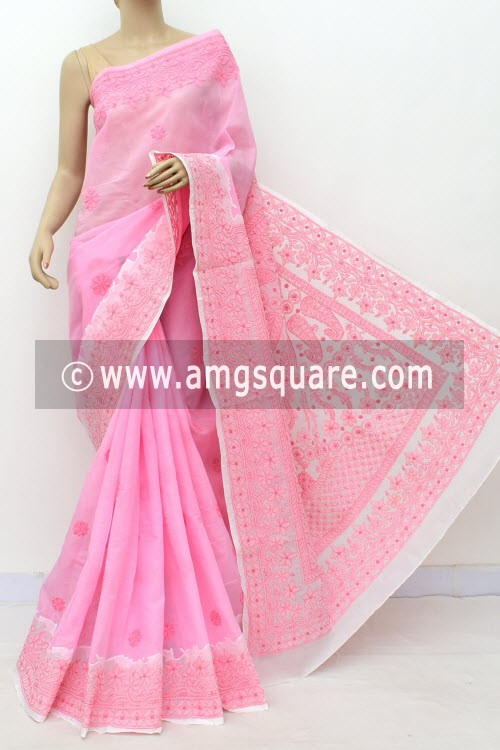 Pink White Designer Hand Embroidered Lucknowi Chikankari Saree (With Blouse - Cotton) Daraj Work Border & Pallu 15017