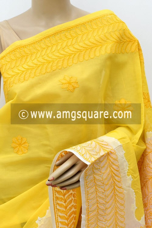 Turmeric Yellow Designer Hand Embroidered Lucknowi Chikankari Saree (With Blouse - Cotton) Daraj Work Border & Pallu 15018