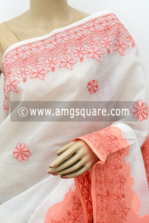 White Peach Designer Hand Embroidered Lucknowi Chikankari Saree (With Blouse - Cotton) Daraj Work Border & Pallu 15020