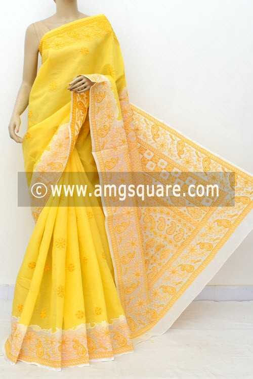 Turmeric Yellow White Designer Hand Embroidered Lucknowi Chikankari Saree (With Blouse - Cotton) Daraj Work Border & Pallu 15021