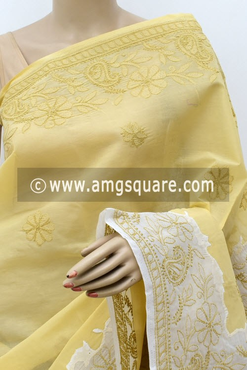 Ochre Yellow White Designer Hand Embroidered Lucknowi Chikankari Saree (With Blouse - Cotton) Daraj Work Border & Pallu 15022