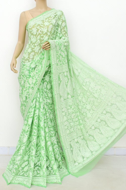 Pista Green Allover Hand Embroidered with Fine Mukaish Work Lucknowi Chikankari Saree (With Blouse - Faux Georgette) 15033 (A Bridal Collection)