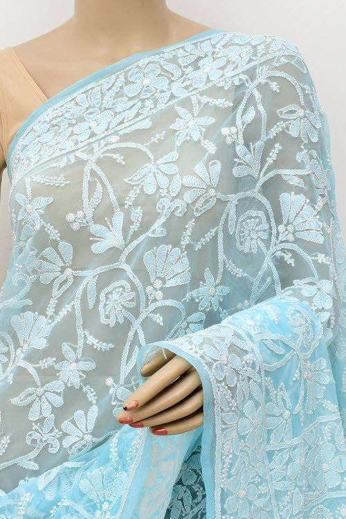 Sky Blue Allover Hand Embroidered Lucknowi Chikankari Saree (With Blouse - Georgette) 15043