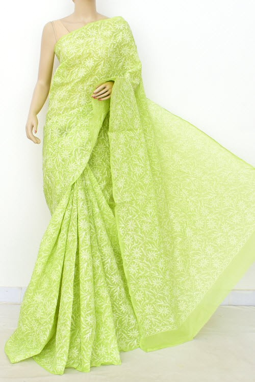Pista Green Allover Hand Embroidered Tepchi Work Lucknowi Chikankari Saree (With Blouse - Cotton) 15049