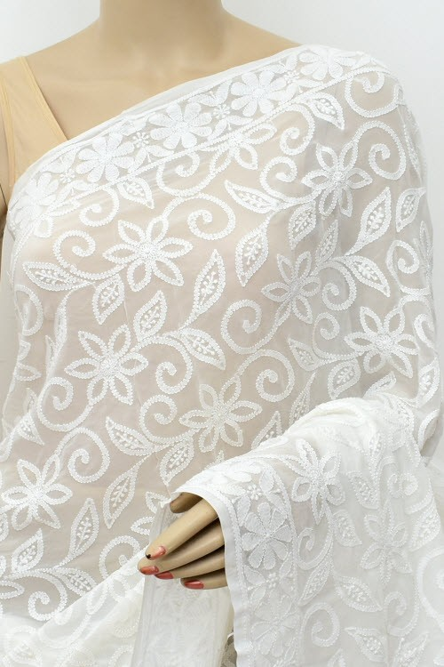 White Designer Allover Hand Embroidered Lucknowi Chikankari Saree (With Blouse - Viscose Georgette) 15215 A Bridal Collection