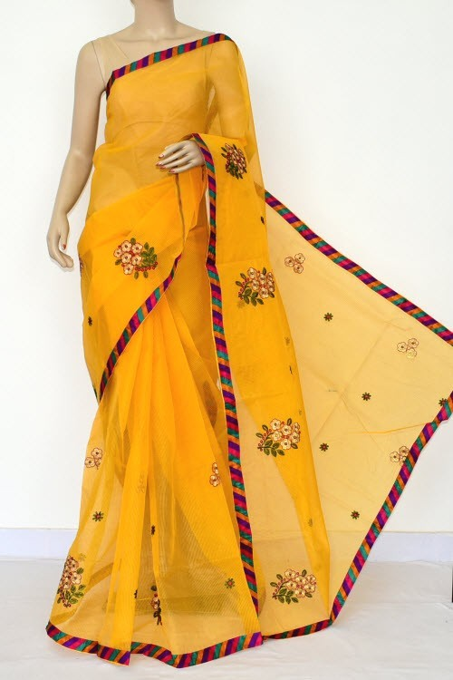 Yellow Embroidered Kota Saree Gota Patti Work (Without Blouse - Supernet) 15474