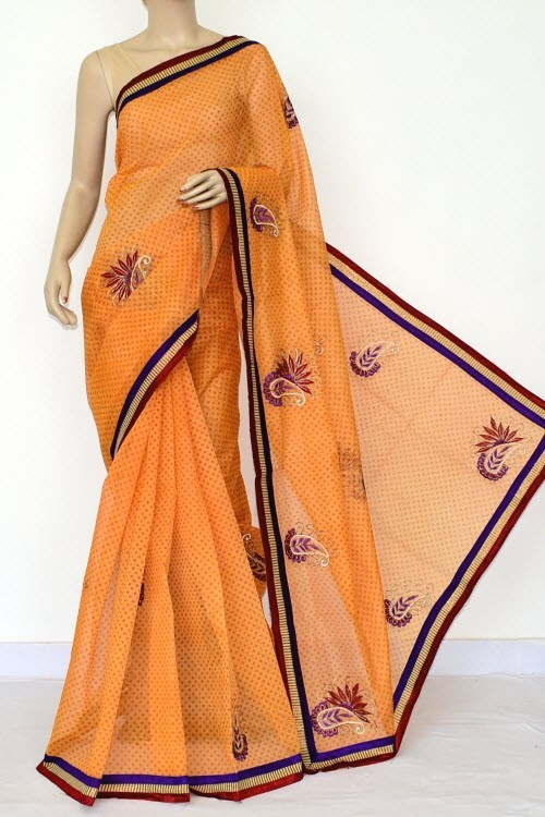 Yellow Embroidered Kota Saree (Without Blouse - Supernet) 15475