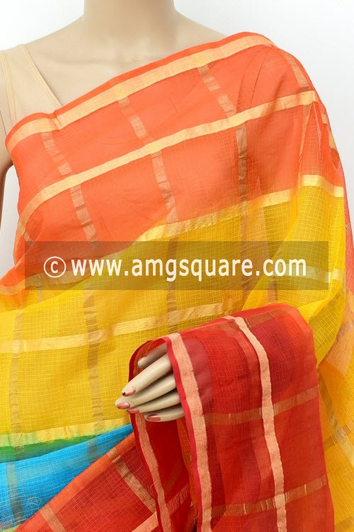 Multi-Color Kota Doria Allover Zari Check Cotton Saree (without Blouse) 15504