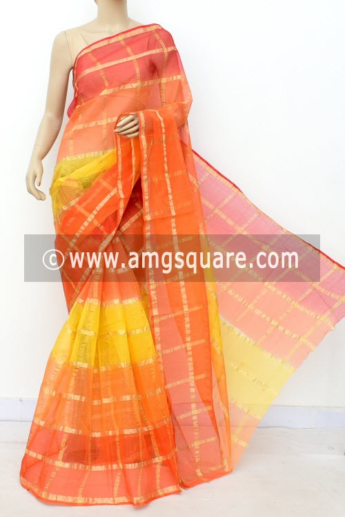 Yellow Orange Kota Doria Allover Zari Check Cotton Saree (without Blouse) 15505