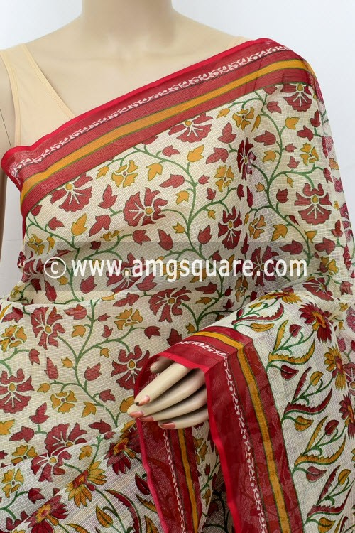 Red Off White JP Kota Doria Floral Printed Cotton Saree (without Blouse) 15527
