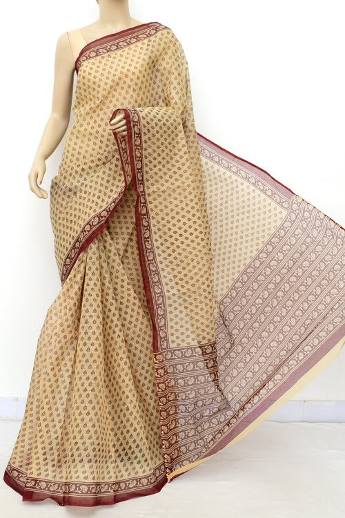 Fawn Deep Maroon JP Kota Doria Printed Cotton Saree (without Blouse) Allover Booti 15547
