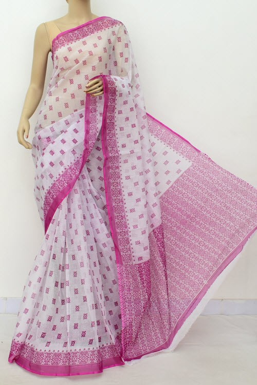 Magenta White JP Kota Doria Printed Cotton Saree (without Blouse) 15555