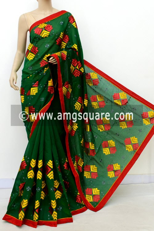 Green Embroidered Handloom Mercerized Cotton Saree (With Blouse) 16321