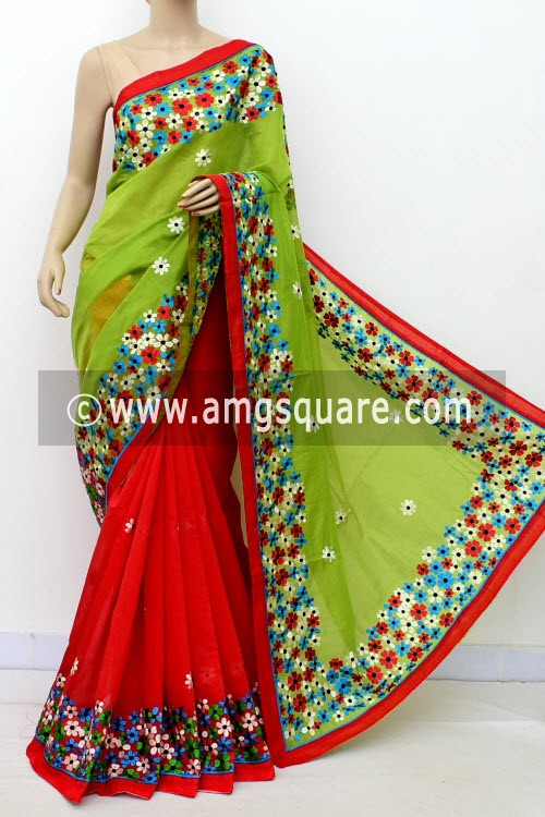Red Green Embroidered Handloom Chanderi Cotton Saree (With Blouse) Half-Half 16324