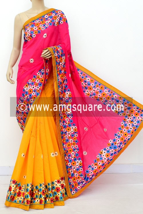 Yellow Pink Embroidered Handloom Chanderi Cotton Saree (With Blouse) Half-Half 16325