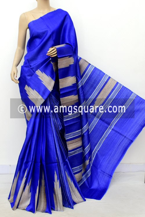 Royal Blue Pure Tusser Silk Handloom Saree (with Blouse) Ghicha Temple Border 16338