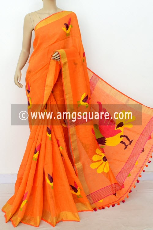 Orange Exclusive Wrinkle Free Pure Linen Fabric Jamdani Saree (Without Blouse) 16339
