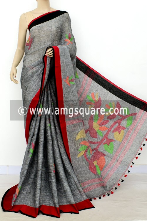 Grey Exclusive Wrinkle Free Pure Linen Fabric Jamdani Saree (Without Blouse) Ganga Yamuna Border 16342