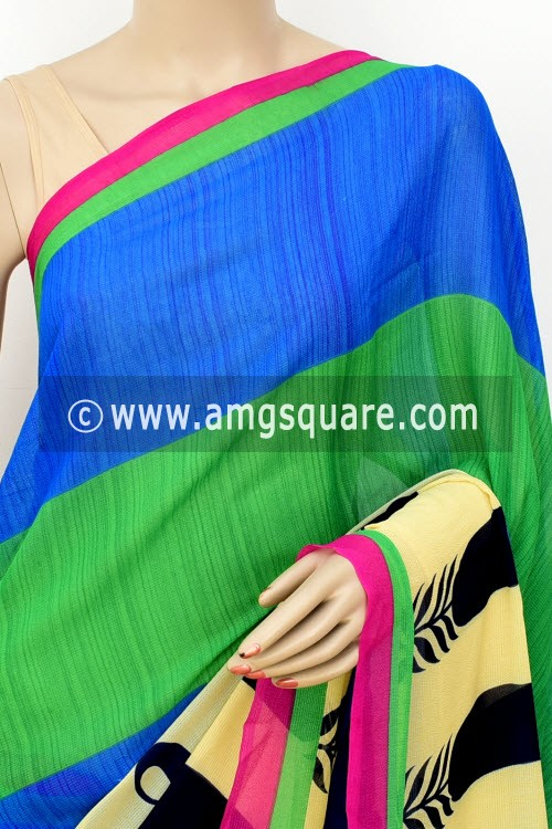 Blue Green Printed Wrinkle Georgette Saree (with Blouse) 16403