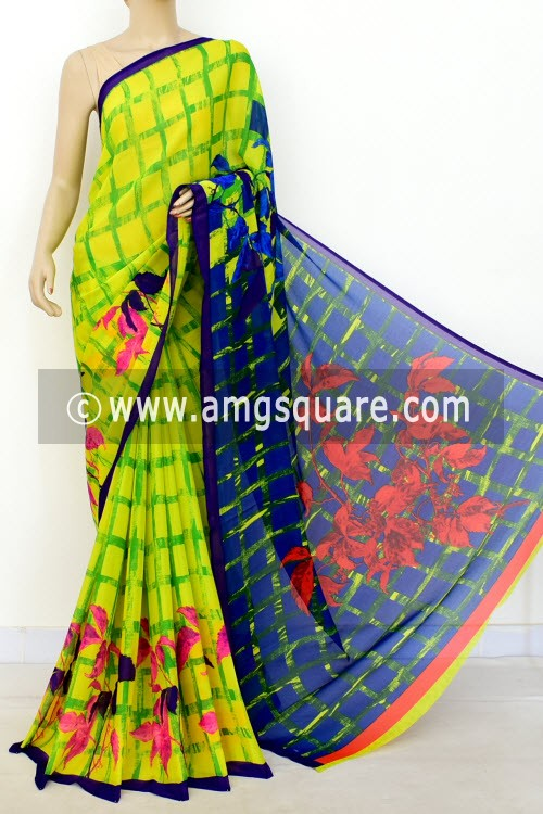 Yellow Green Printed Wrinkle Georgette Saree (with Blouse) 16405