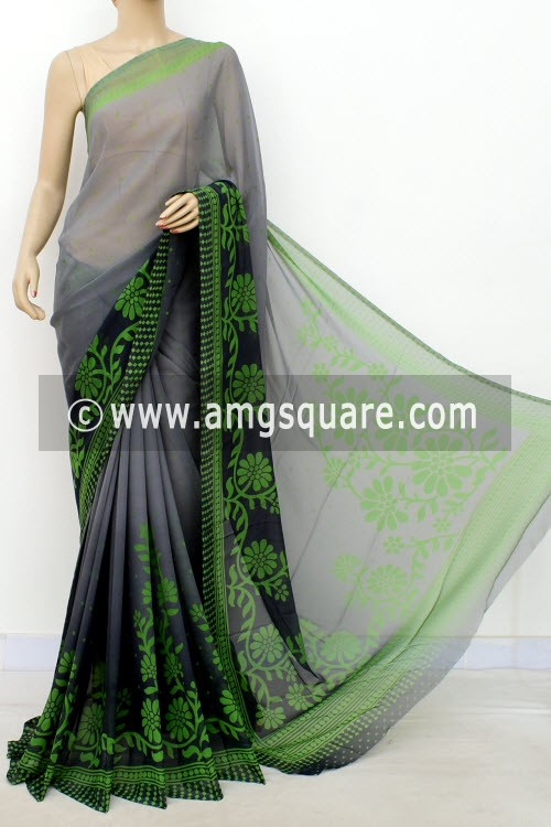 Grey Green Printed Mul-Mul Georgette Saree (with Blouse) 16410