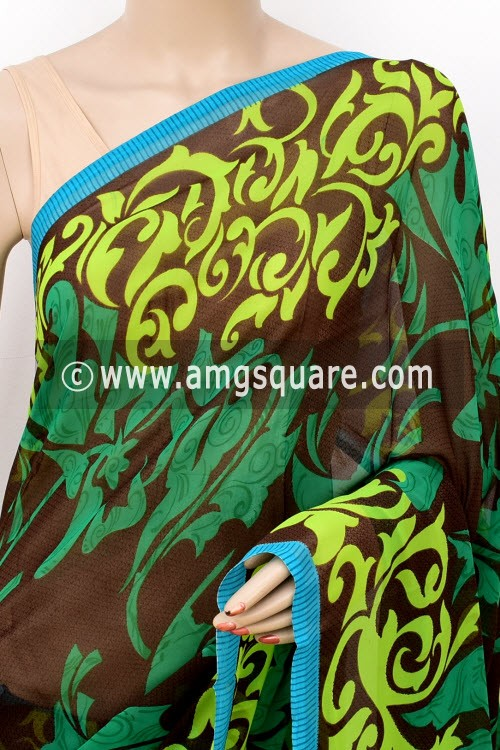 Green Coffee Printed Mul-Mul Georgette Saree (with Blouse) 16415