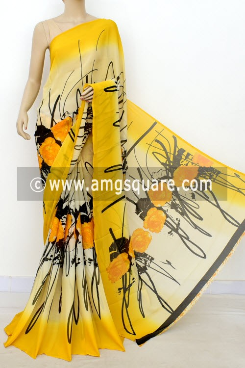 Cream Yellow Printed Wrinkle Georgette Saree (with Blouse) 16419
