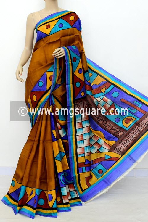 Mustard Yellow Printed Handloom Double Knitted Pure Silk Saree (With Blouse) 16431