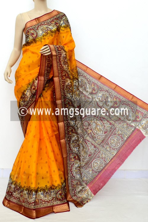 Deep Yellow Printed Handloom Single Knitted Pure Silk Saree (Without Blouse) 16434