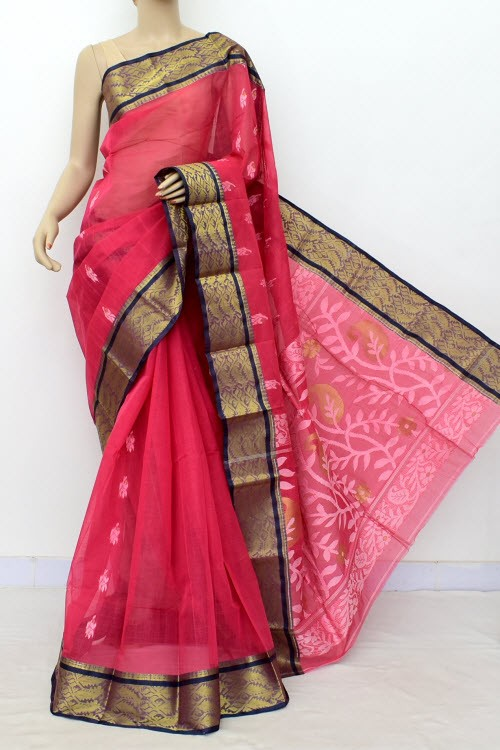 Redish Rust Handwoven Bengal Tant Cotton Saree (Without Blouse) Zari Border 17001