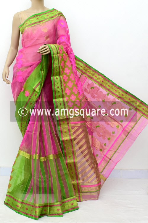 Pink Green Exclusive Handwoven Bengal Tant Kora Cotton Saree (Without Blouse) Zari Border 17095
