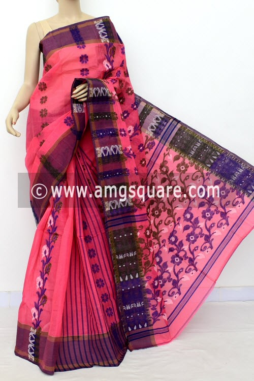 Peach Handwoven Bengal Tant Cotton Saree (Without Blouse) 17155