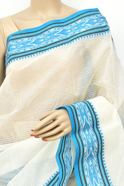 Off White Handwoven Bengali Tant Cotton Saree (Without Blouse) 17163