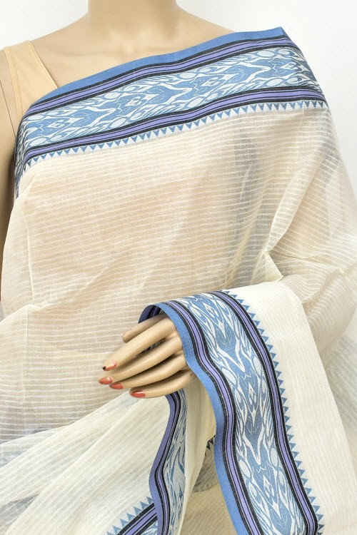 Off White Handwoven Bengali Tant Cotton Saree (Without Blouse) 17164