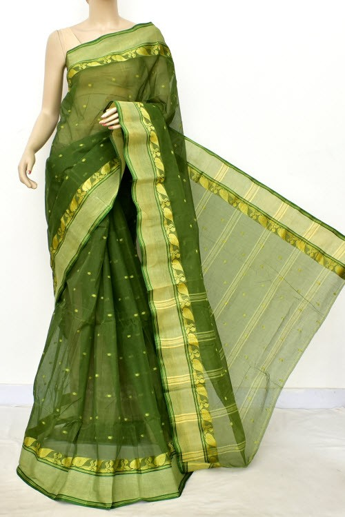 Leaf Green Handwoven Bengali Tant Cotton Saree (Without Blouse) Allover Booti 17187