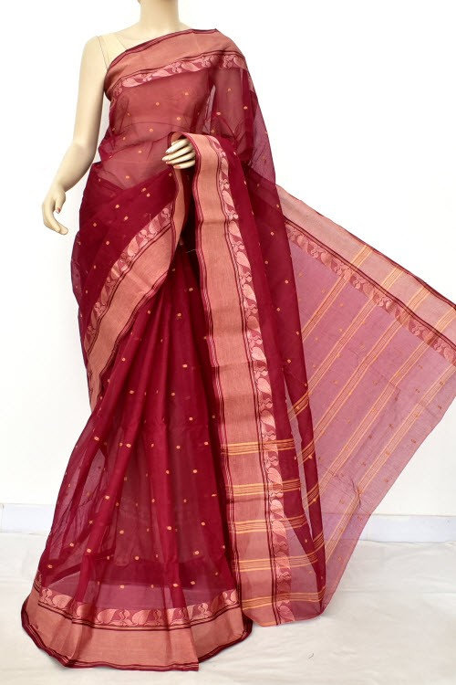 Maroon Handwoven Bengali Tant Cotton Saree (Without Blouse) Allover Booti 17189