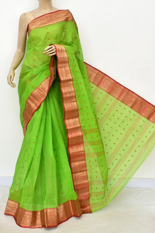 Parrot Green Handwoven Bengali Tant Cotton Saree (Without Blouse) Allover Booti 17207