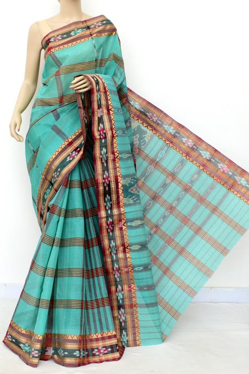 Sea Green Handloom Bengal Tant Cotton Saree (Without Blouse) Kotki Border 17258