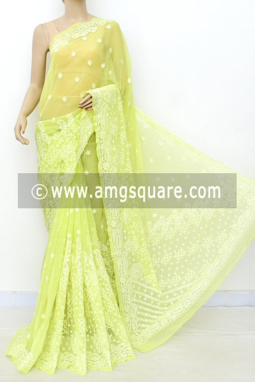 Pista Green Hand Embroidered Lucknowi Chikankari Saree (With Blouse - Georgette) Rich Pallu & Border 17310
