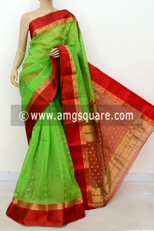 Parrot Green Red Handwoven Bengal Tant Kora Cotton Saree (Without Blouse) 17434