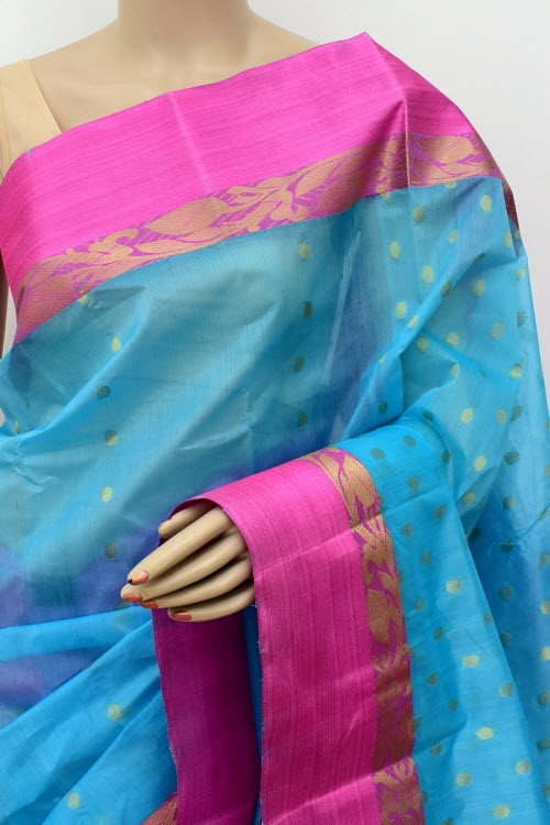 Pherozi Blue Pink Exclusive Handwoven Bengal Tant Cotton Saree (Without Blouse) Zari Border 17435