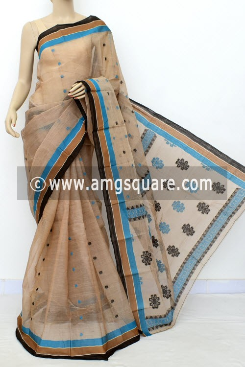 Fawn Exclusive Handwoven Bengal Tant Cotton Saree (Without Blouse) 17466