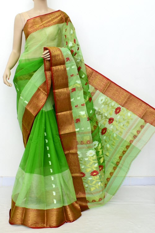 Green Exclusive Handwoven Bengal Tant Cotton Saree (Without Blouse) Red Zari Border 17514