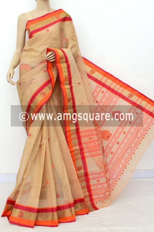Fawn Red Exclusive Handwoven Bengal Tant Cotton Saree (With Blouse) Zari Border 17541