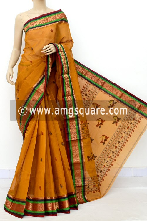 Mustared Yellow Exclusive Handwoven Bengal Tant Cotton Saree (With Blouse) Zari Border and Booti 17574