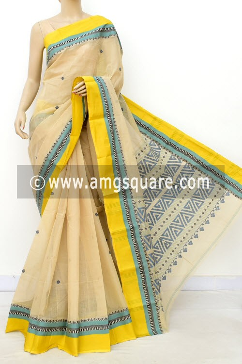 Beige Exclusive Handwoven Bengal Tant Cotton Saree (With Blouse) Resham Border 17575