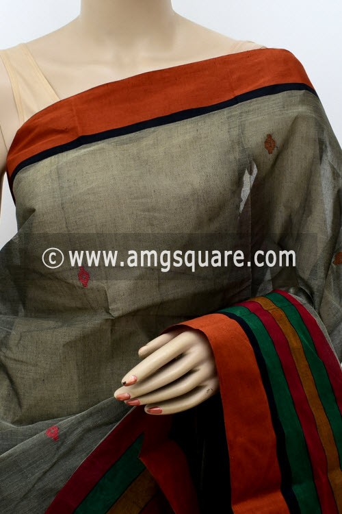 Grey Red Exclusive Handwoven Bengal Tant Cotton Saree (With Blouse) 17585