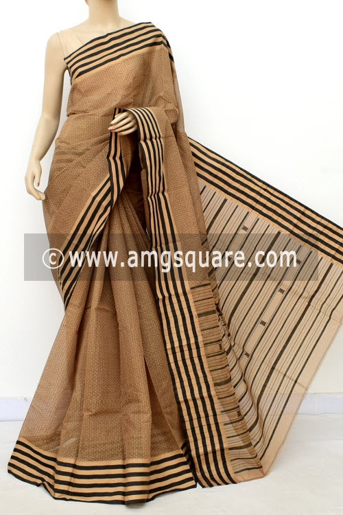 Light Chocolate Exclusive Handwoven Bengal Tant Cotton Saree (With Blouse) Allover Weaving 17600